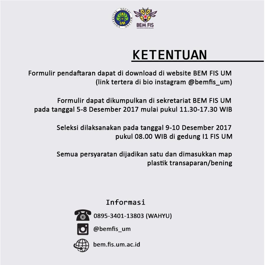 Open Recruitment Anggota Baru Bem Fis 2018 Badan Eksekutif